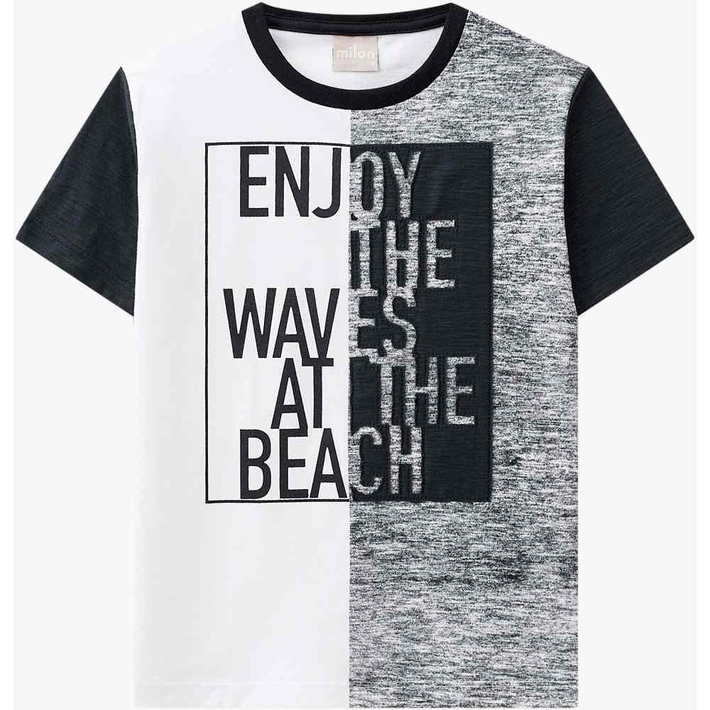 Camiseta Milon 100% Algodão estampa com Bordado