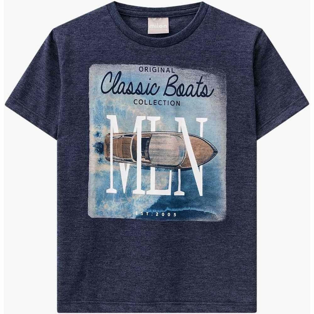 Camiseta Milon Manga Curta 100% Algodão Azul Marinho