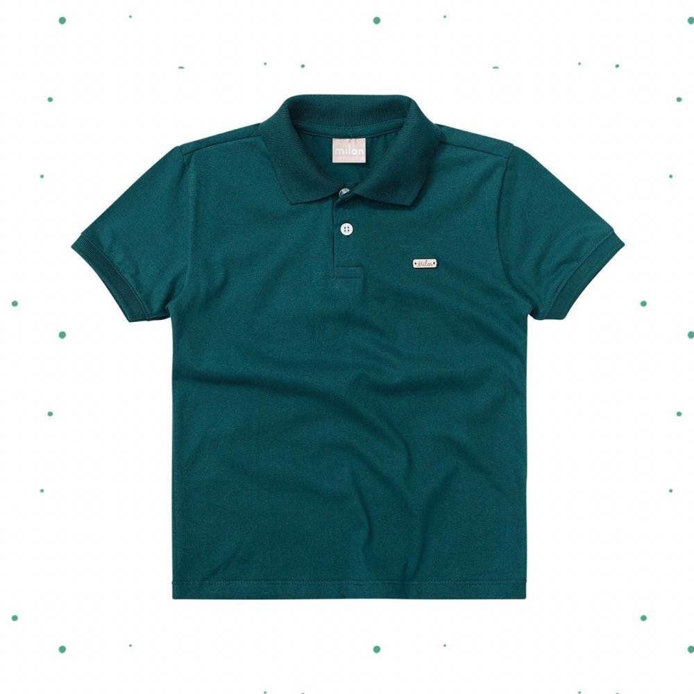 Camiseta Polo Bebê Menino Milon em Meia Malha na cor Verde Amazônia