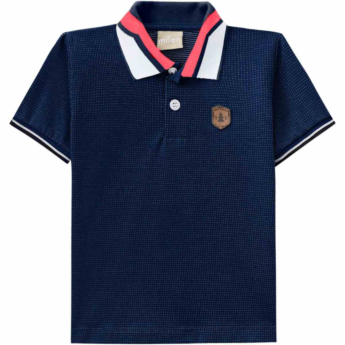 Camiseta Polo Menino Milon em Algodão - Azul Marinho