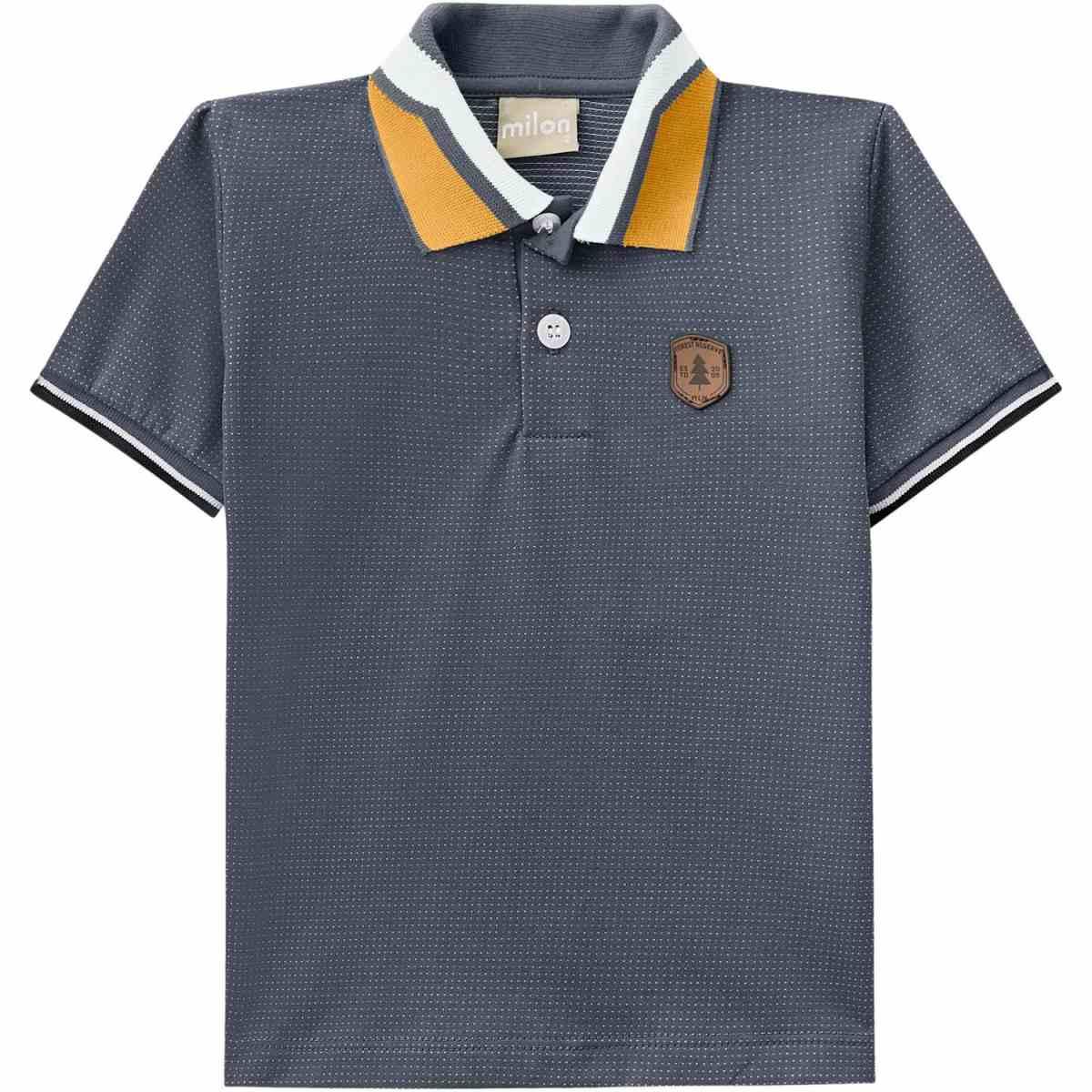 Camiseta Polo Menino Milon em Algodão - Cinza Chumbo