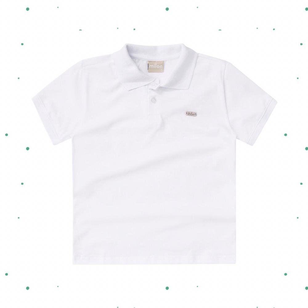 Camiseta Polo Menino Milon em Maia Malha na cor Branca