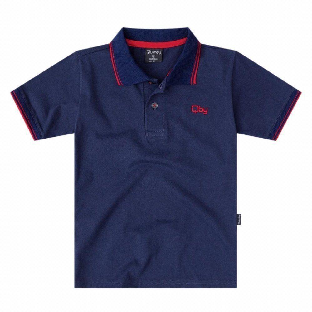 Camiseta Polo Quimby 100% Algodão na cor Azul Marinho