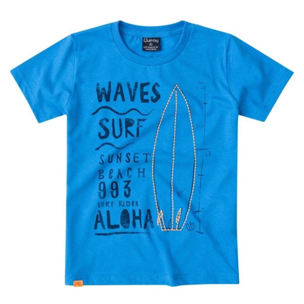 Camiseta Quimby 100% Algodão com Estampa na cor Azul