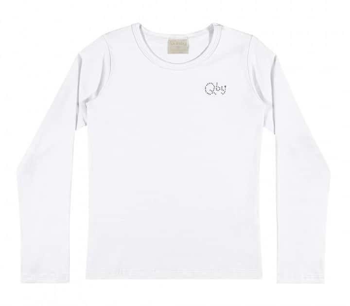 Camiseta Quimby Manga Longa em Cotton Branca