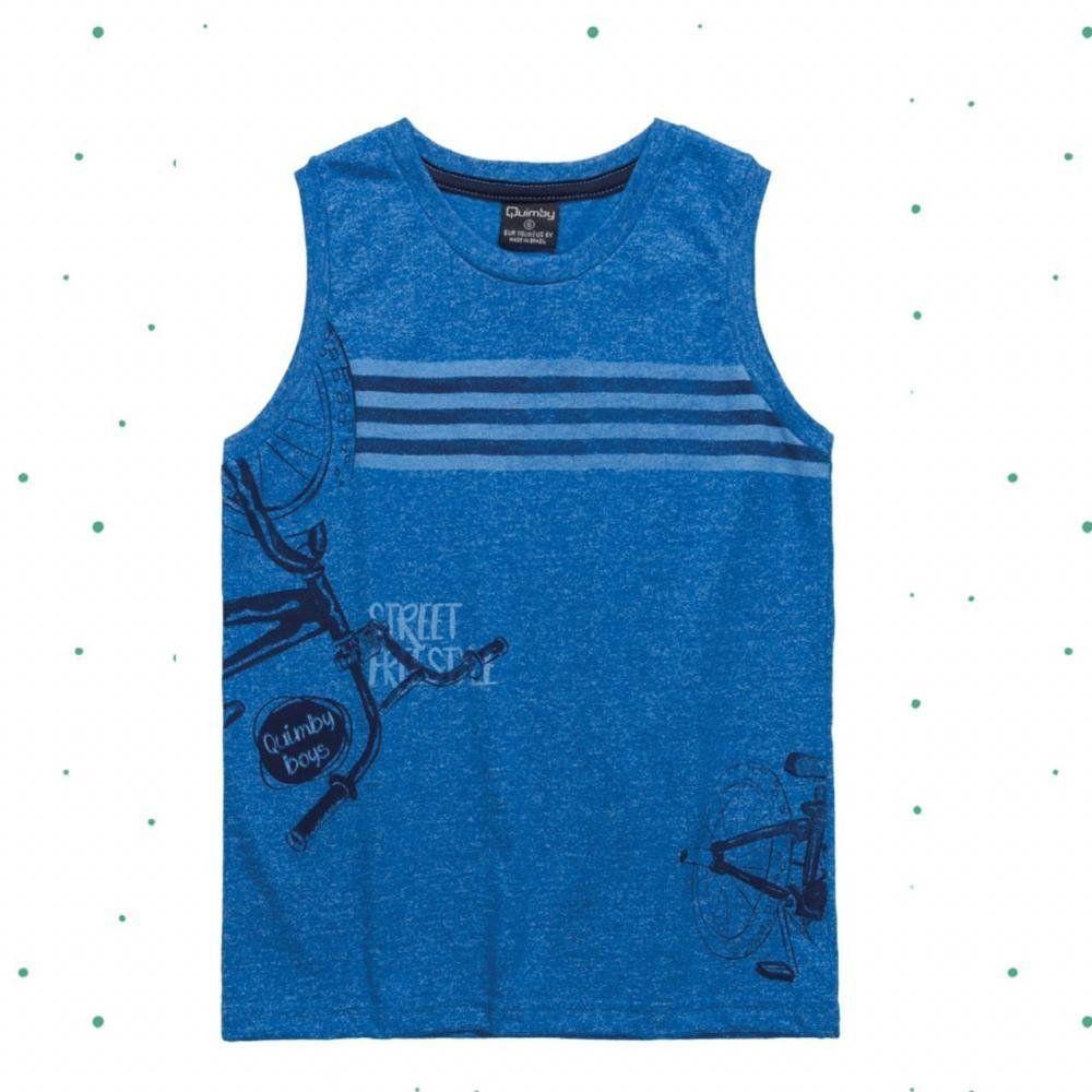 Camiseta Regata Infantil Masculina Quimby em Algodão na cor Azul