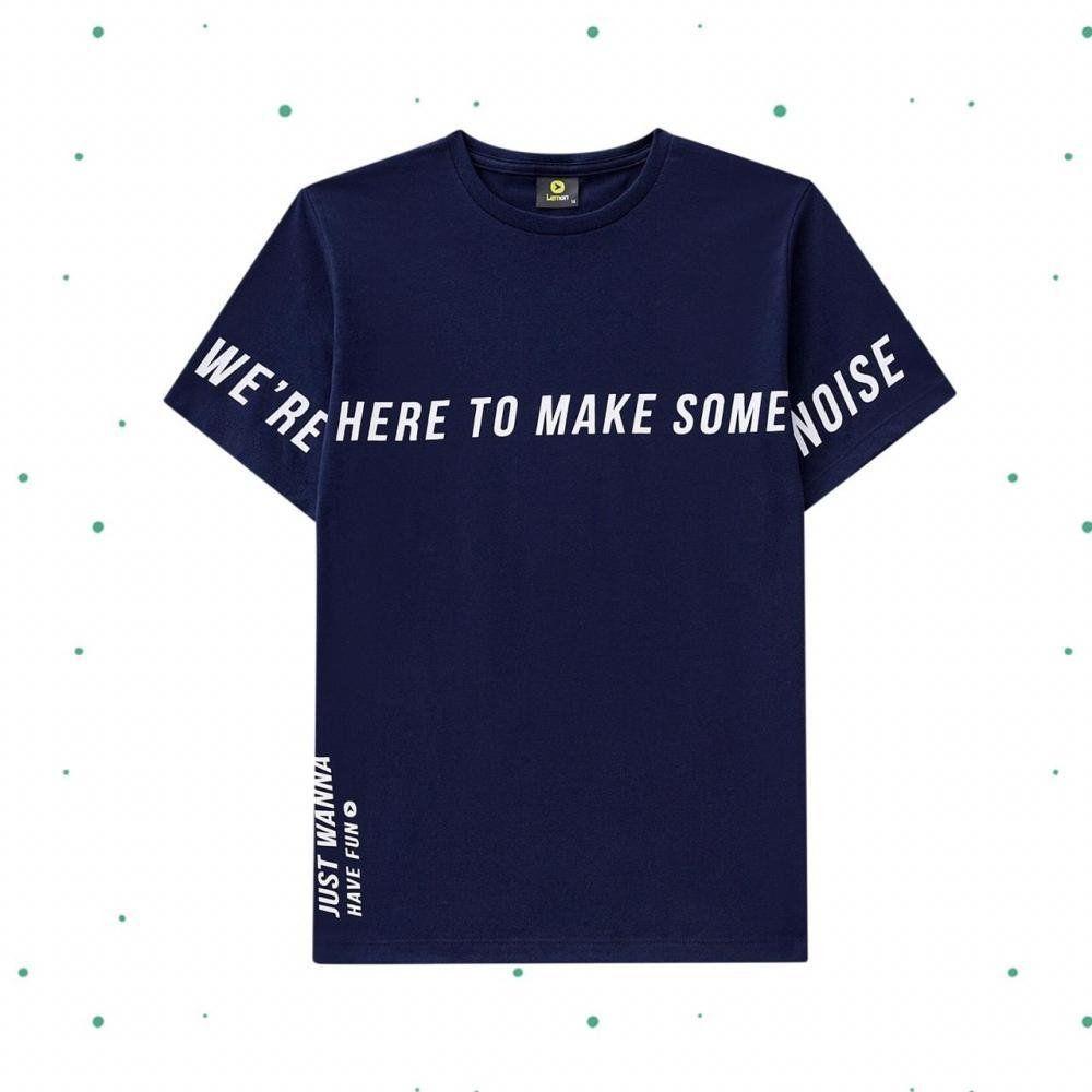 Camiseta Teen Lemon em Algodão na cor Azul Marinho