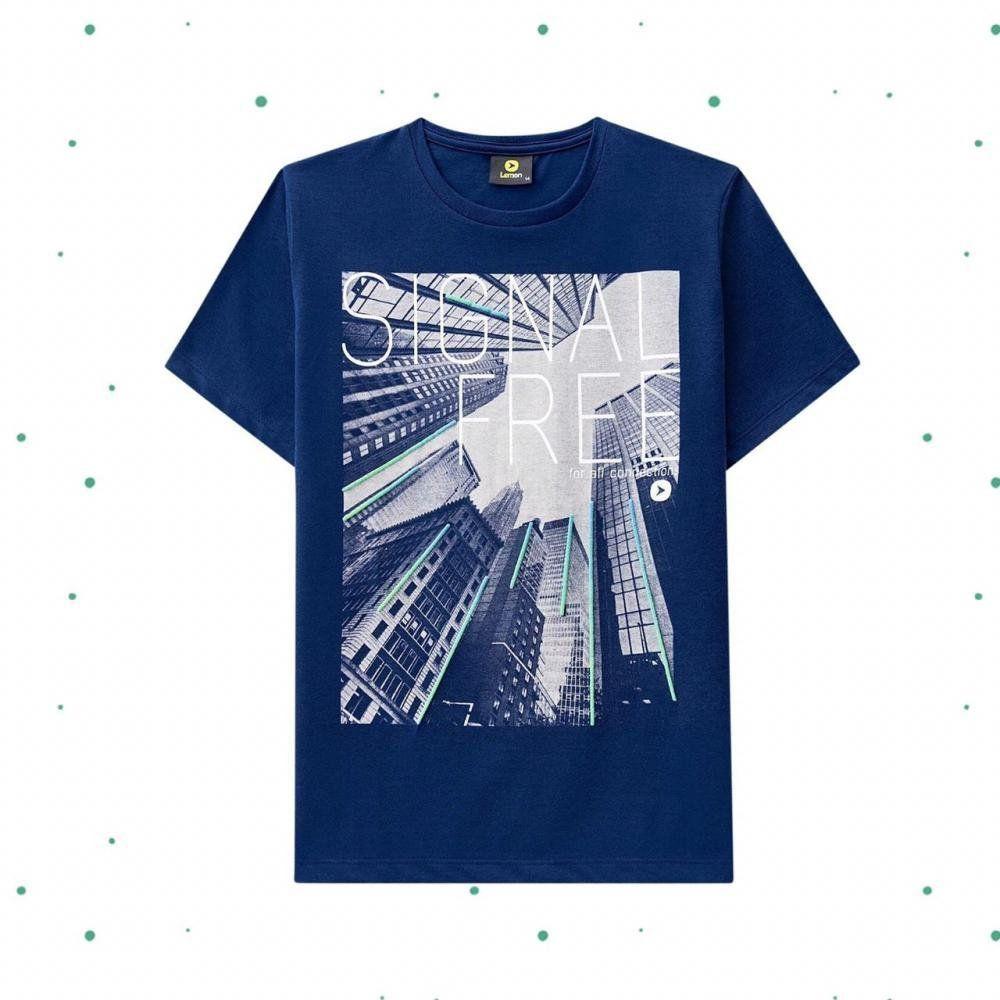 Camiseta Teen Lemon em Algodão na cor Azul Profundo