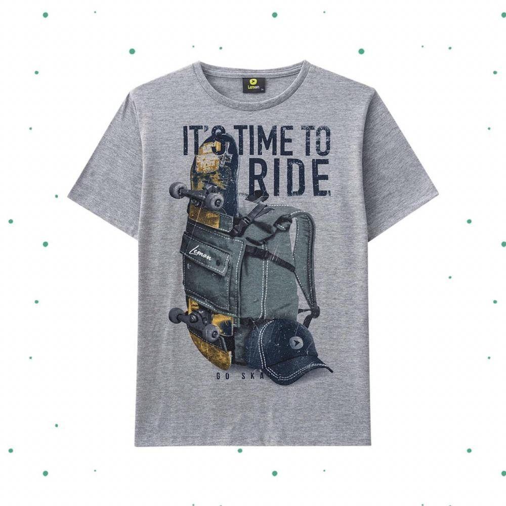 Camiseta Teen Lemon em Algodão na cor Mescla