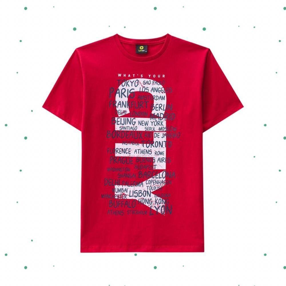 Camiseta Teen Lemon em Algodão na cor Vermelha