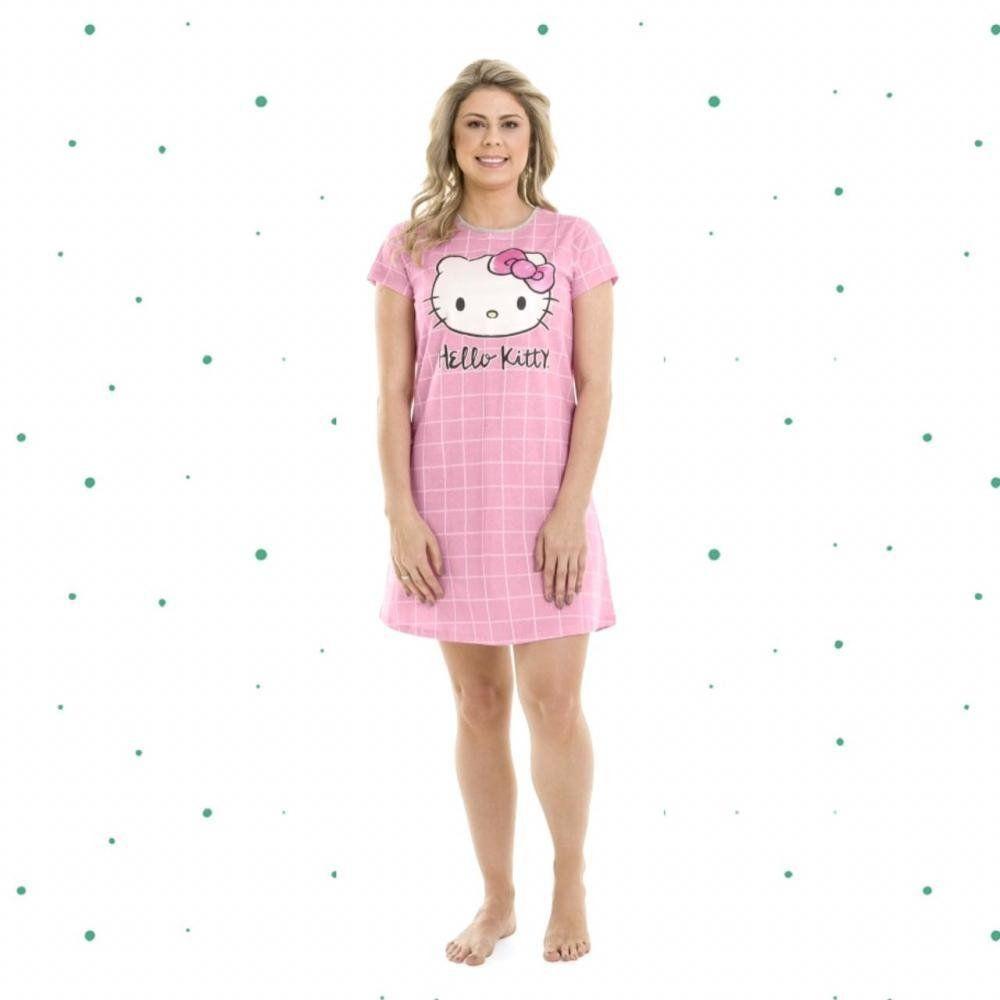 Camisola Adulto Hello Kitty  Manga Curta em Algodão na Cor Rosa Mãe e Filha