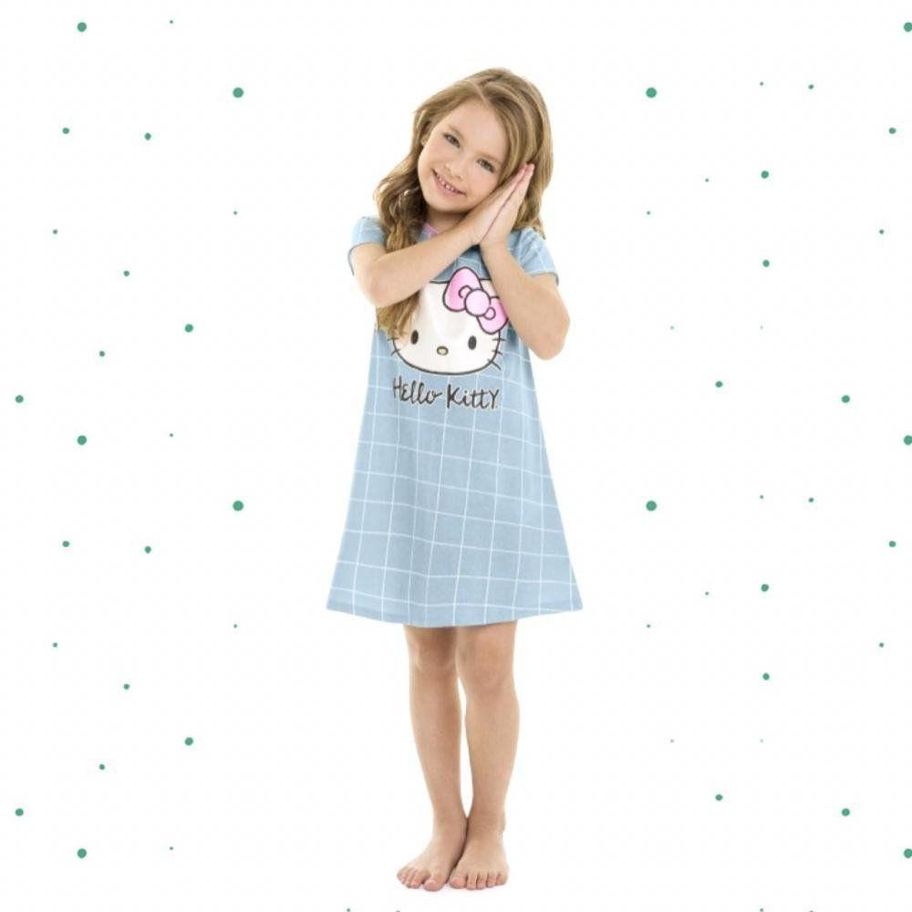 Camisola Infantil Hello Kitty  Manga Curta em Algodão na Cor Azul