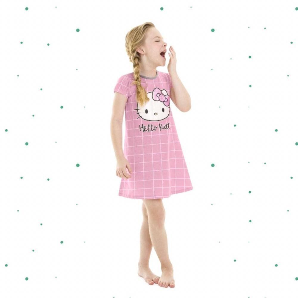 Camisola Infantil Hello Kitty  Manga Curta em Algodão na Cor Rosa