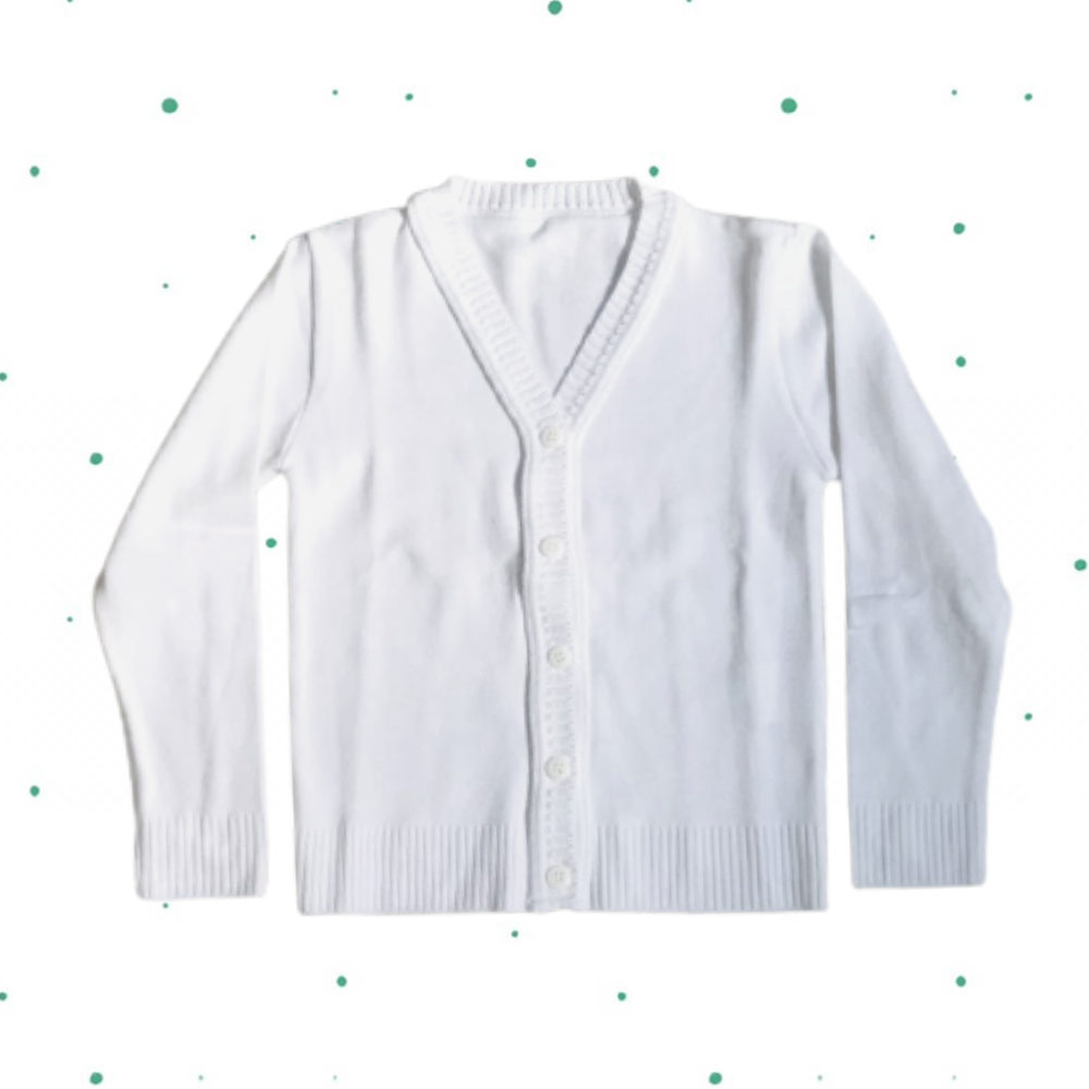 Cardigan de Tricô Infantil Básico - com botões- Branco