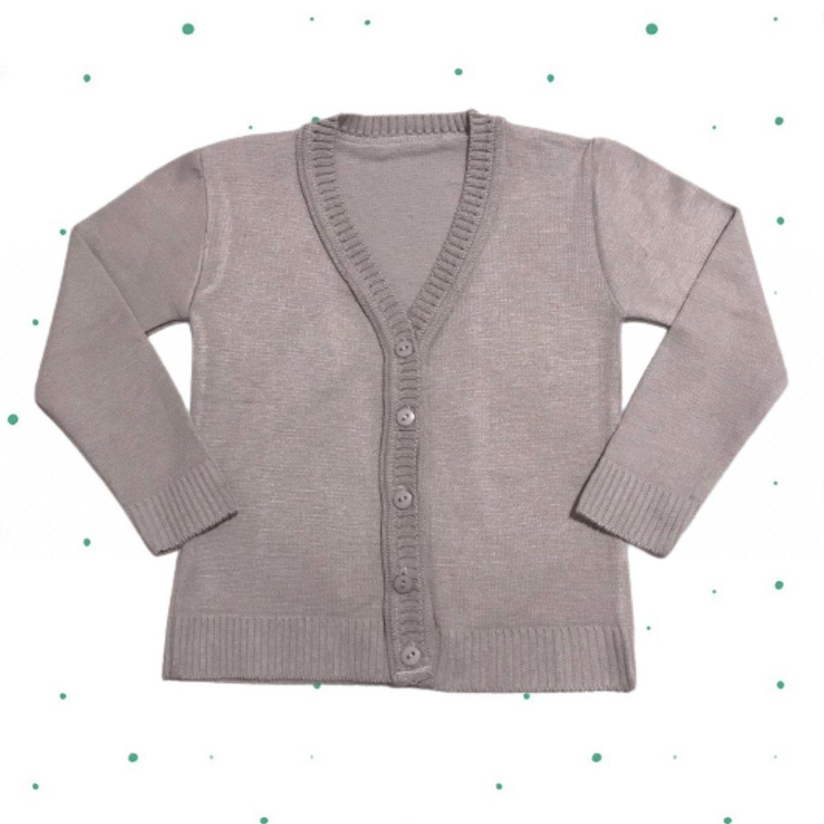 Cardigan de Tricô Infantil Básico - com botões- Cinza Gelo