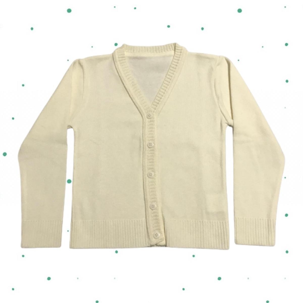 Cardigan de Tricô Infantil Básico c/ botões- Creme/Off White