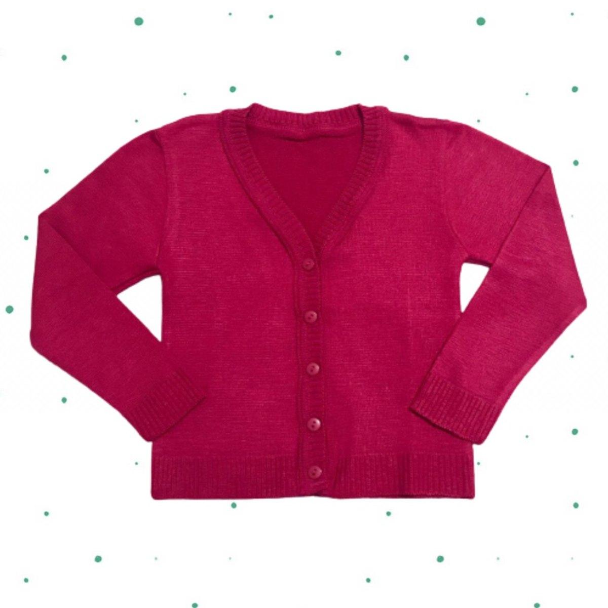 Cardigan de Tricô Infantil Básico - com botões- Pink