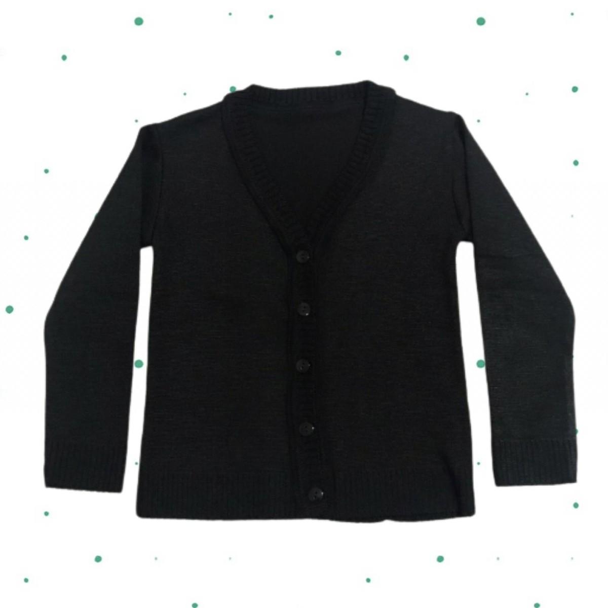 Cardigan de Tricô Infantil Básico - com botões- Preto