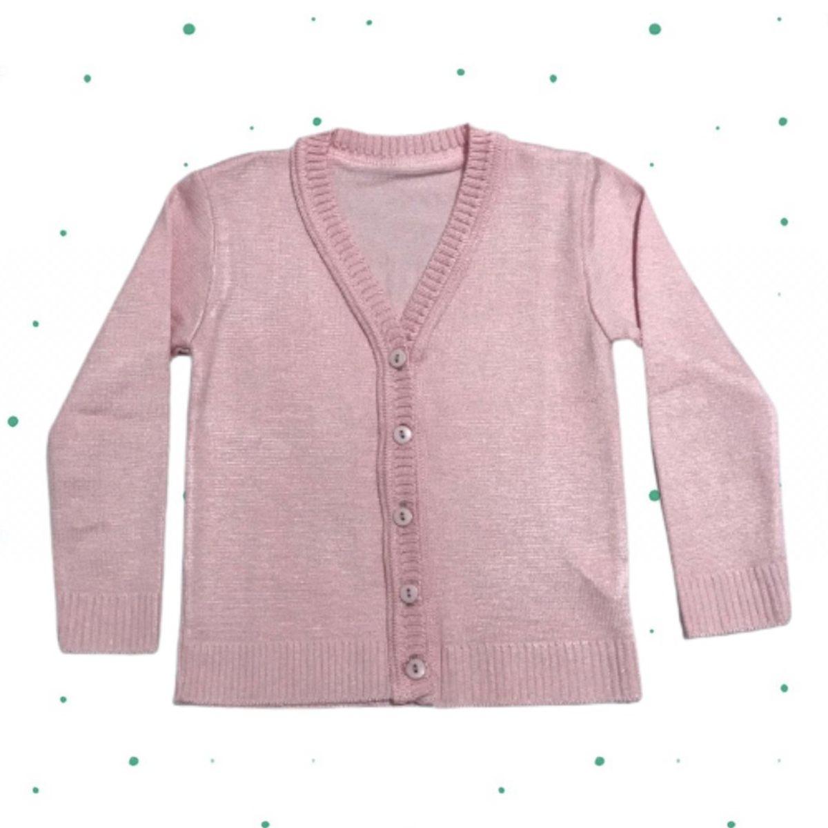 Cardigan de Tricô Infantil Básico - com botões- Rosa Claro