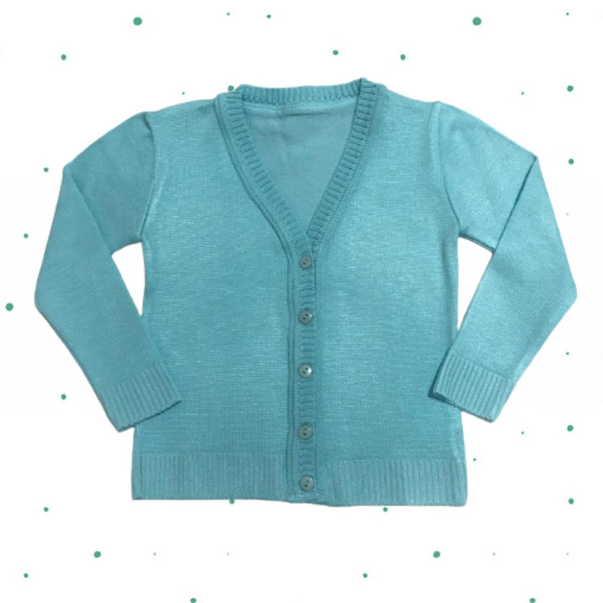 Cardigan de Tricô Infantil Básico com botões- Verde Tiffany