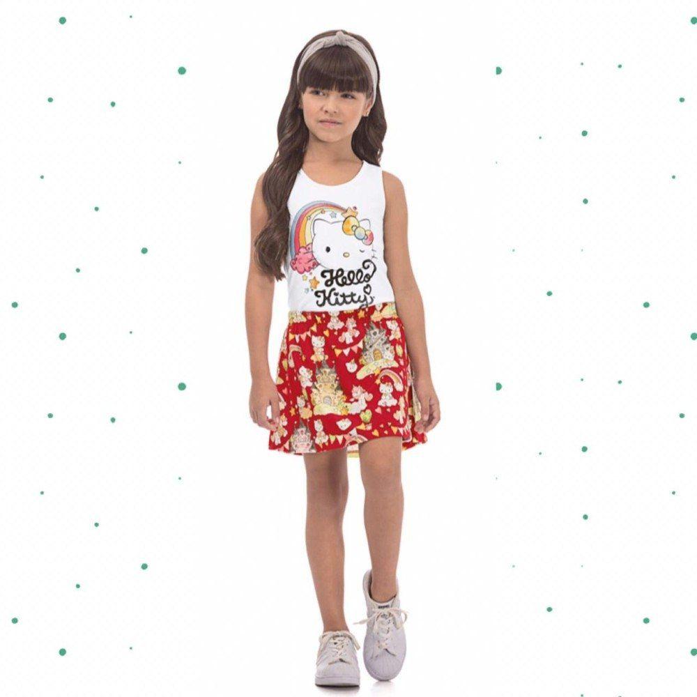 Conj. Hello Kitty Blusa e Saia com Shorts Interno em Malha
