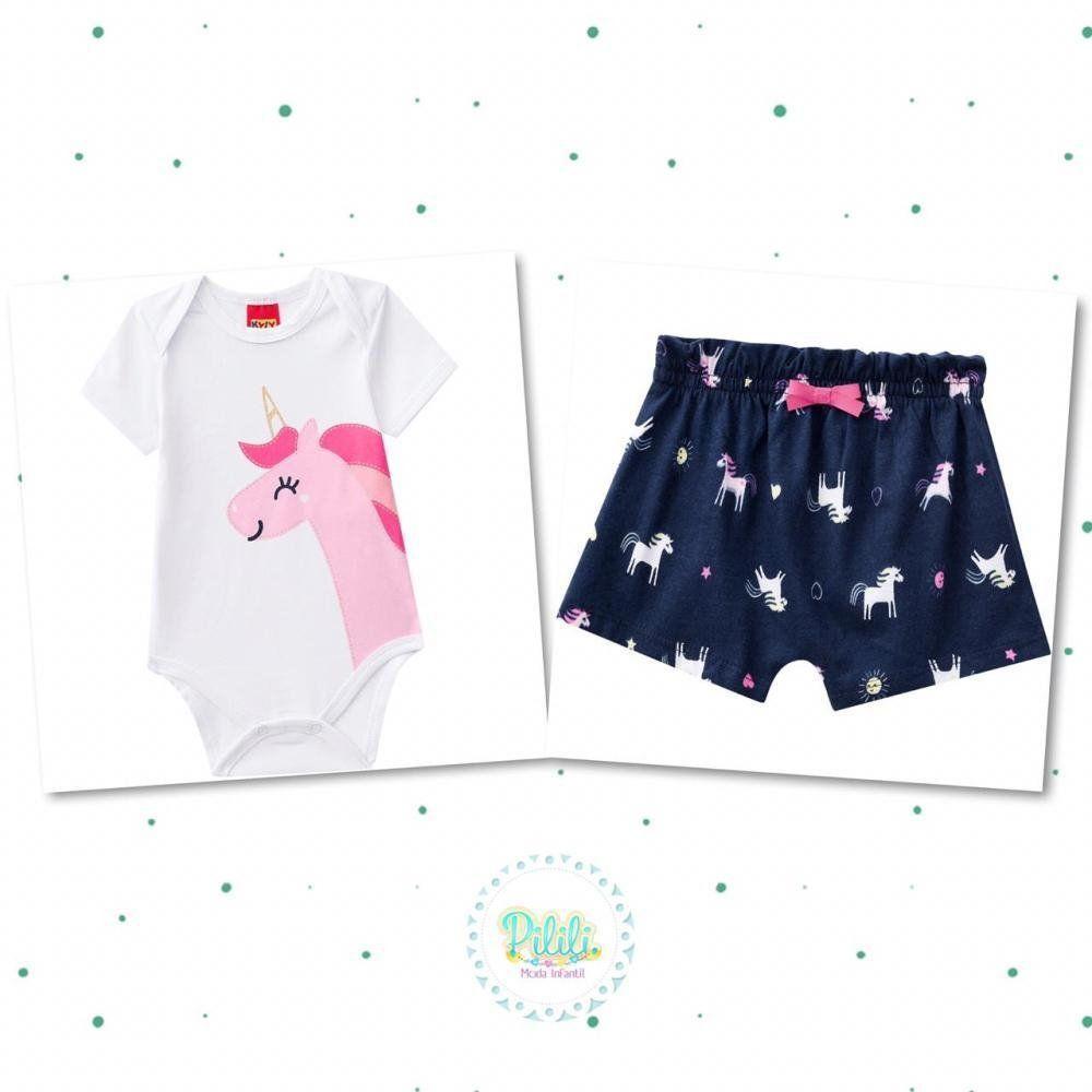 Conjunto Bebê Feminino Kyly Body em Cotton e Shorts em Algodão