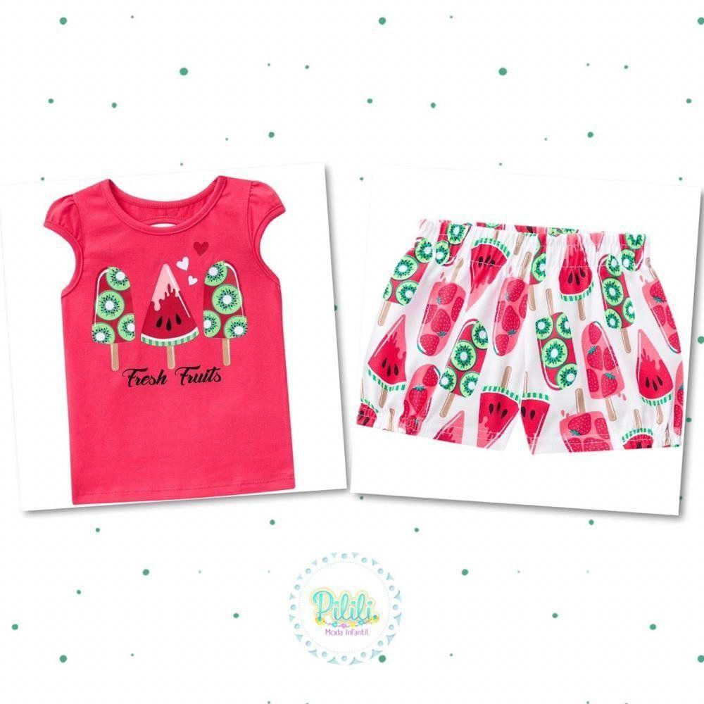 Conjunto Bebê Menina Blusinha Estampada em Algodão e Short em Cotton