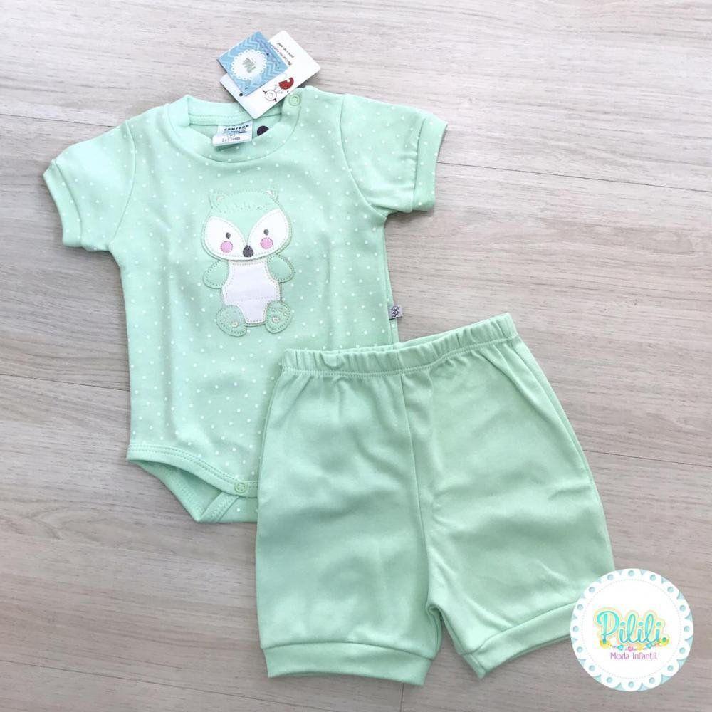 Conjunto Bebê Menina Curioso Body e Shorts em Suedine Verde Água