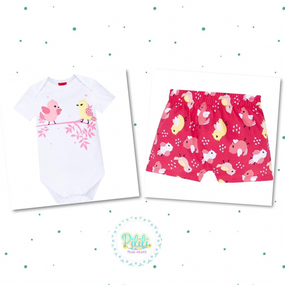 Conjunto Bebê Menina Kyly Body Cotton Shorts Algodão Branco