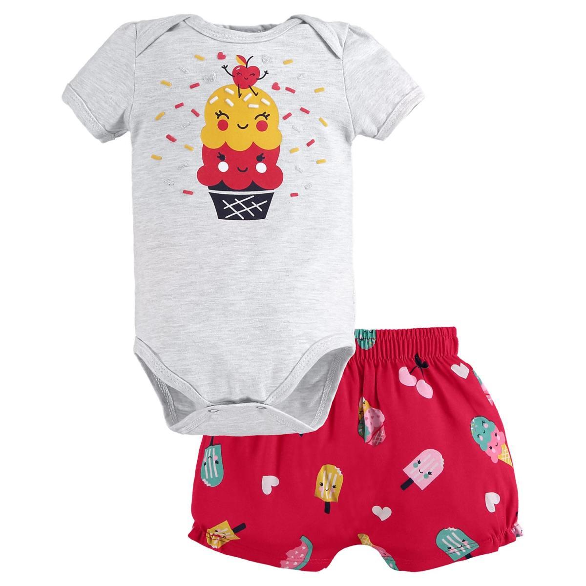 Conjunto Bebê Menina Kyly Body e Shorts