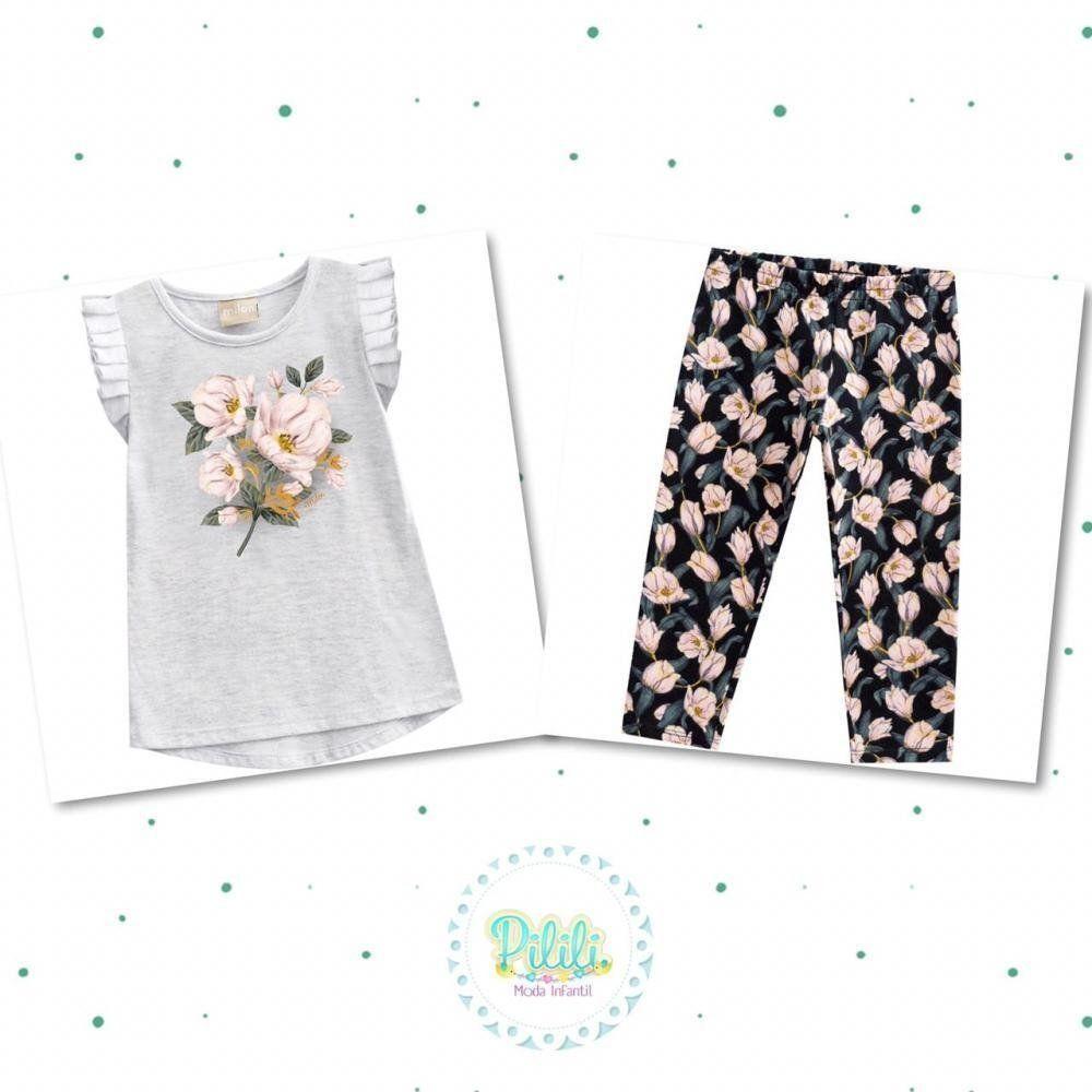 Conjunto Bebê Menina Milon Blusinha e Legging em Cotton