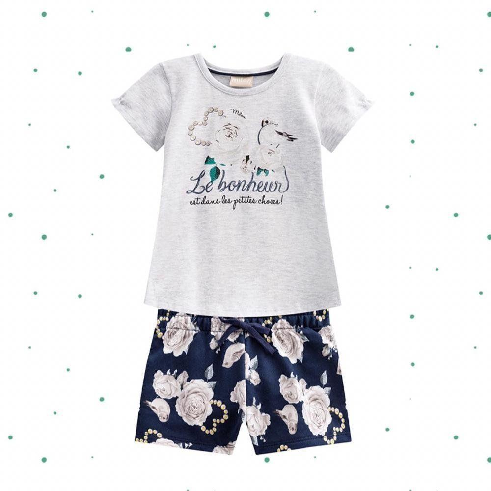 Conjunto Bebê Menina Milon Blusinha em Cotton e Short em Moletom