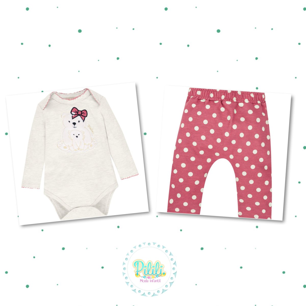 Conjunto Bebê Menina Milon Body Cotton Calça Moletinho