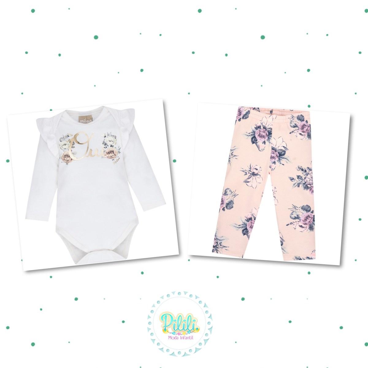 Conjunto Bebê Menina Milon Body e Legging  em Cotton