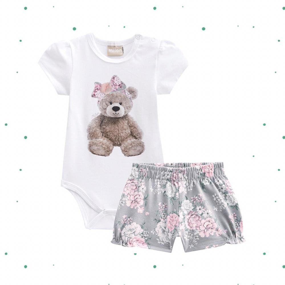 Conjunto Bebê Menina Milon Body e Short em Cotton