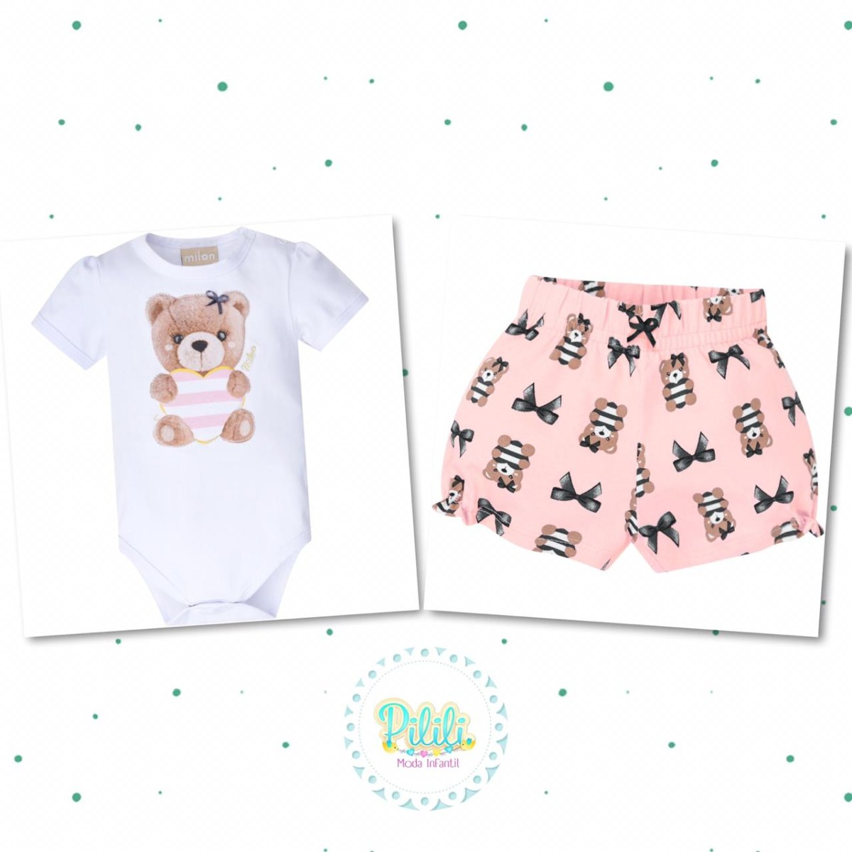 Conjunto Bebê Menina Milon Body e Shorts em Cotton
