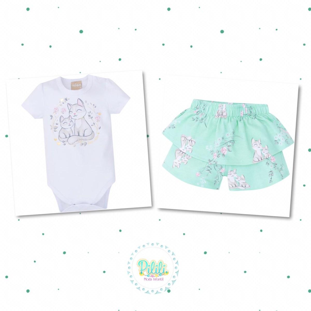 Conjunto Bebê Menina Milon Body Short em Cotton