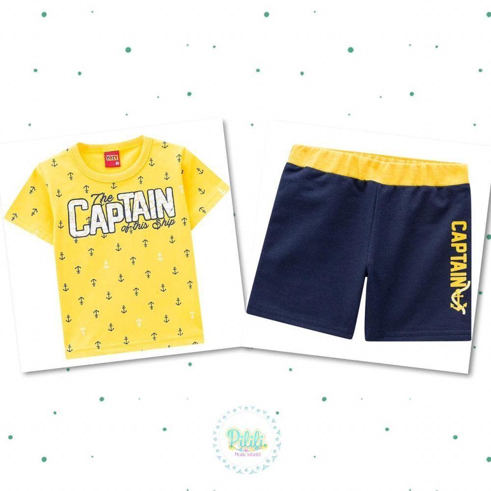 Conjunto Bebê Menino Kyly Camiseta Algodão e Bermuda em Moletinho Amarelo