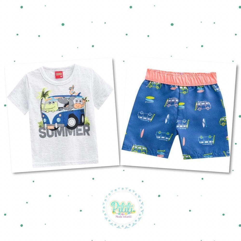 Conjunto Bebê Menino Kyly Camiseta em Algodão e Bermuda em Microfibra