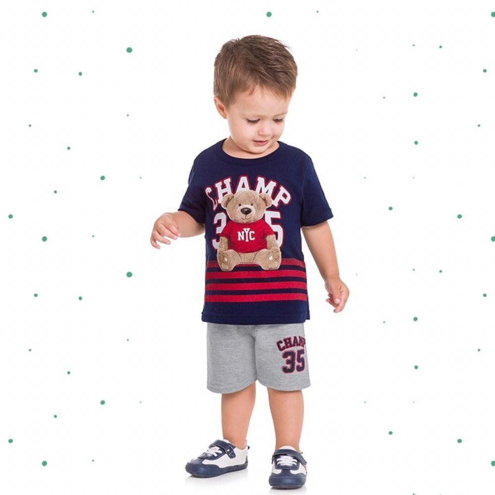 Conjunto Bebê Menino Kyly Camiseta em Algodão e Bermuda em Moletinho