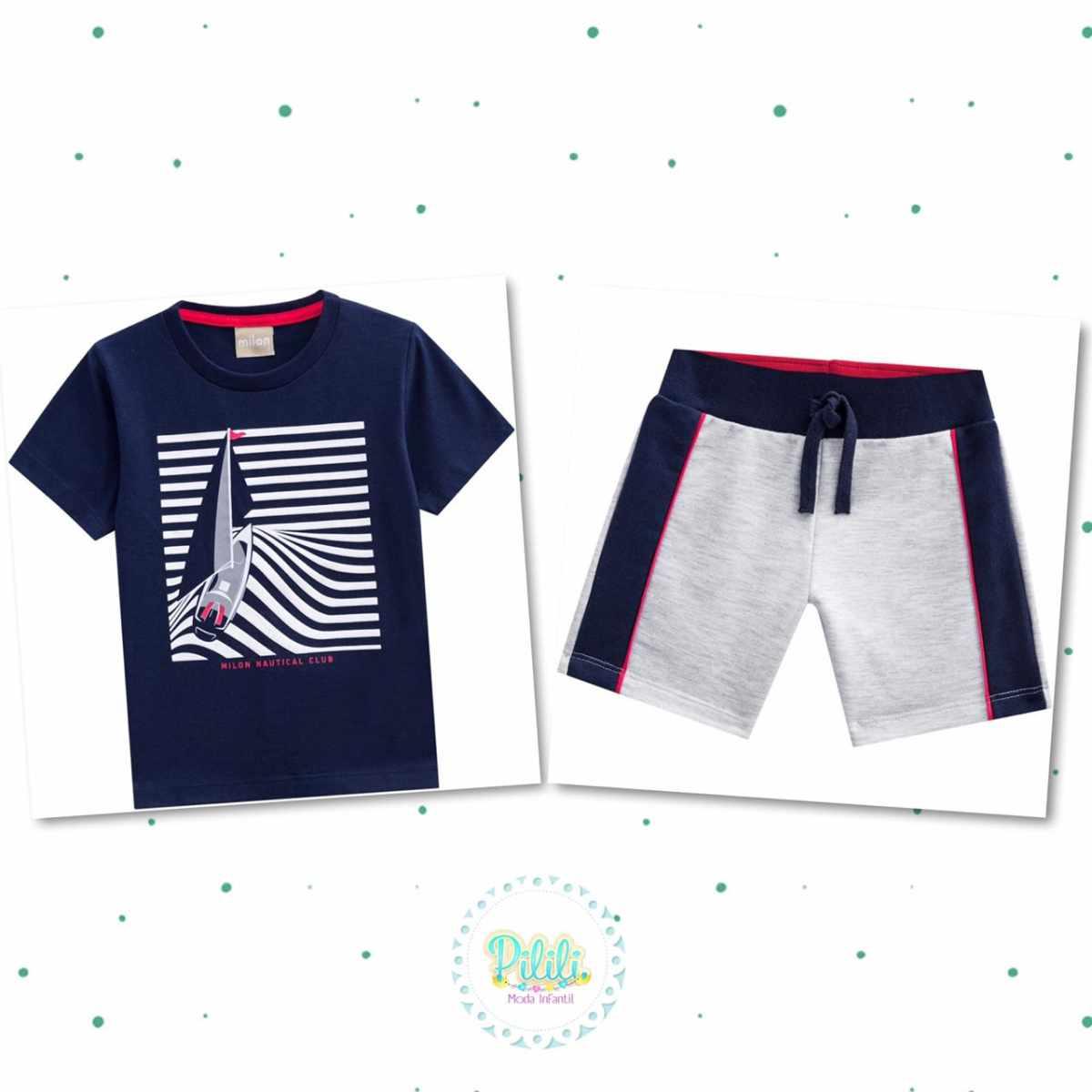 Conjunto Bebê Menino Milon Camiseta Algodão e Bermuda Moletom