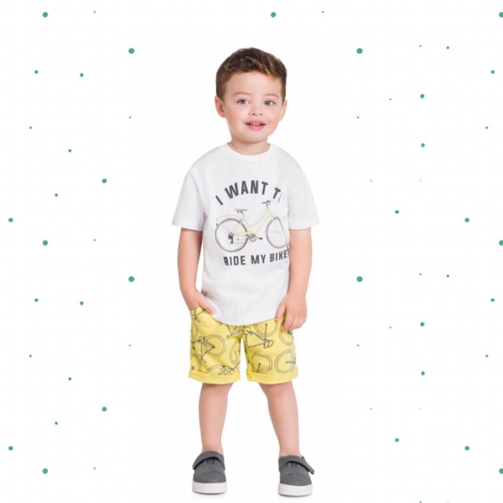 Conjunto Bebê Menino Milon Camiseta Algodão e Bermuda Moletom 3 Cabos