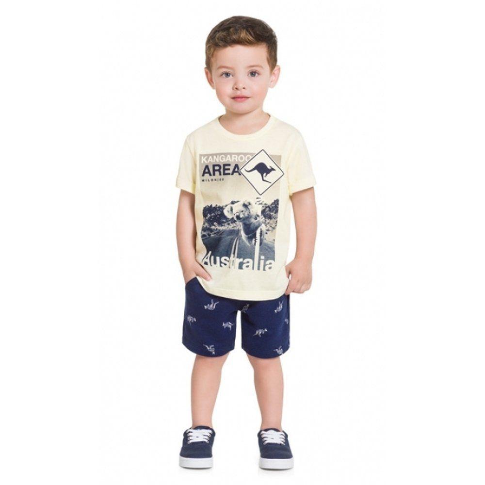Conjunto Bebê Menino Milon Camiseta em Algodão e Bermuda em Moletom
