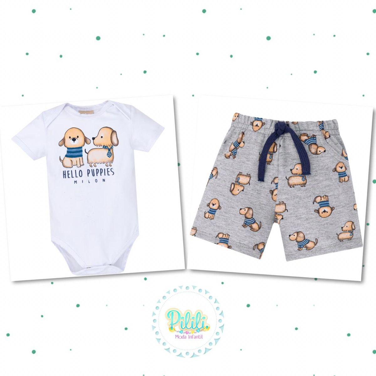 Conjunto Bebê Milon Body Cotton Bermuda Moletinho Leve