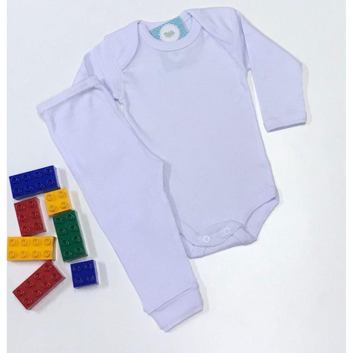 Conjunto Bebê Odicon Body ML Suedine Branco