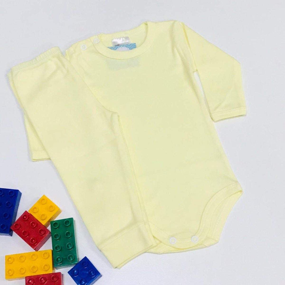 Conjunto Bebê Odicon Body ML Suedine Liso Amarelo