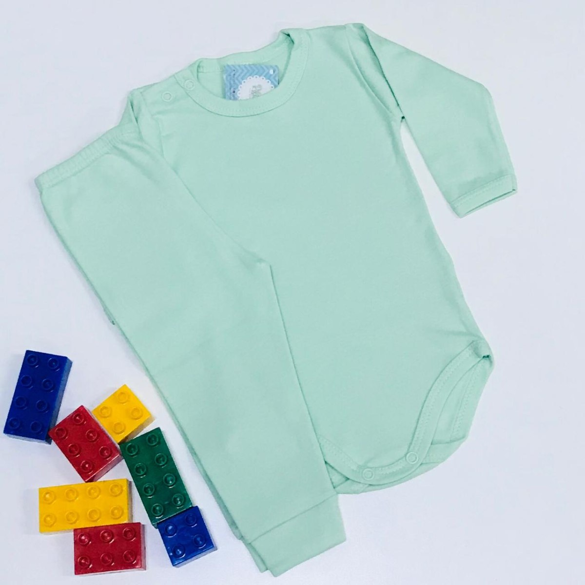 Conjunto Bebê Odicon Body ML Suedine Liso Verde