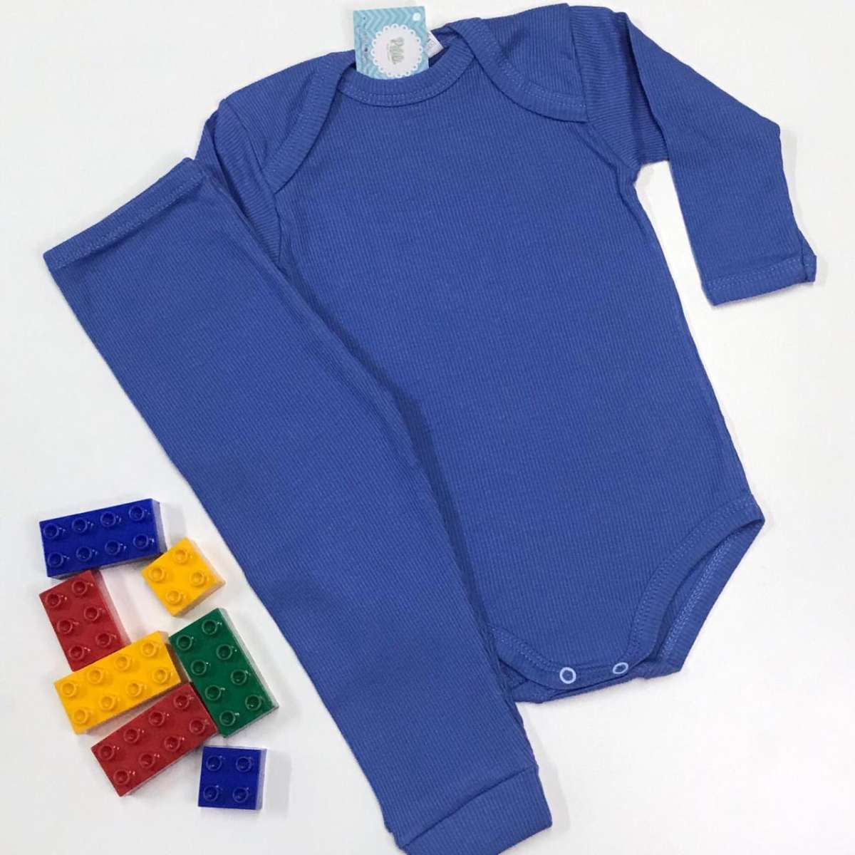 Conjunto Bebê Odicon ML em Ribana Azul Forte
