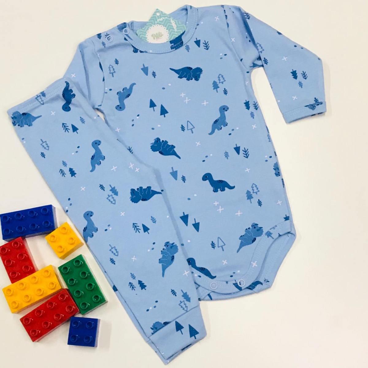 Conjunto Bebê Odicon ML Suedine Azul Estampado Dinossauro