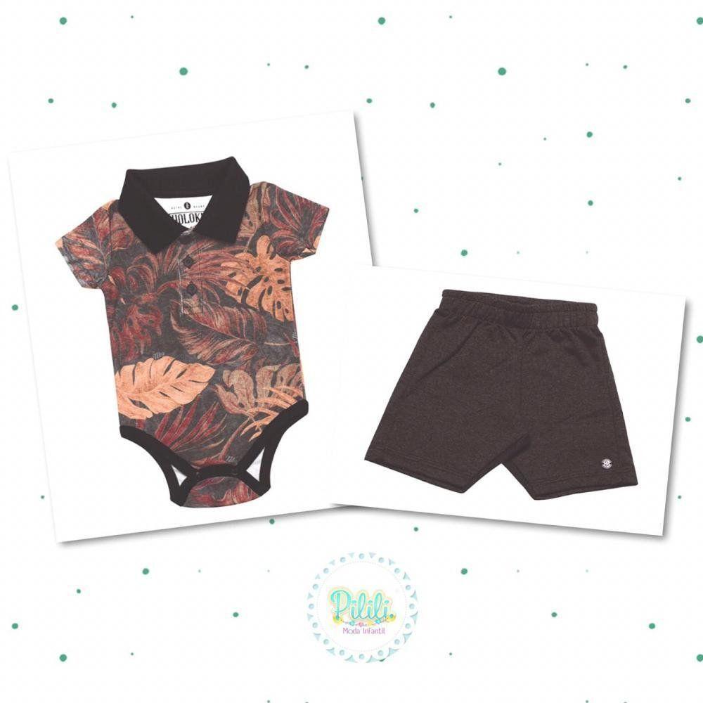Conjunto Body Polo e Shorts em Moletom Tholokko